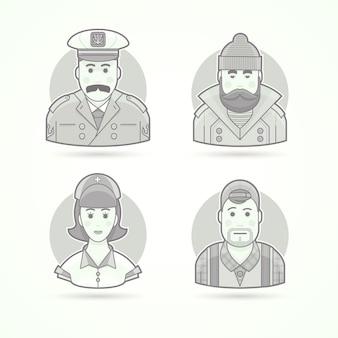 Capitão de navio, pescador, enfermeira e ícones de operador de vídeo. ilustrações de personagem, avatar e pessoa. estilo descrito preto e branco.