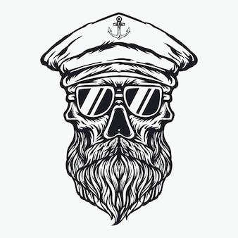 Capitão do navio crânio ilustração barba e bigode