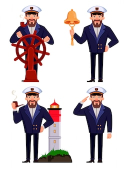 Capitão do navio em uniforme profissional