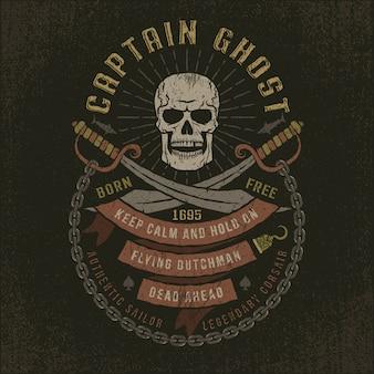 Capitão fantasma - logotipo de pirata grunge caveira
