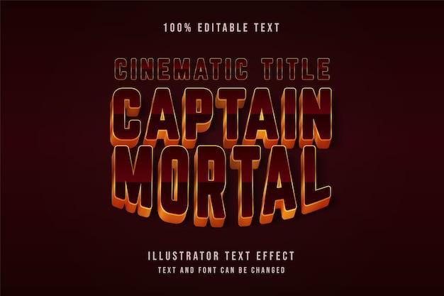 Capitão mortal, efeito de texto editável em 3d gradação vermelha e efeito de estilo cinematográfico preto