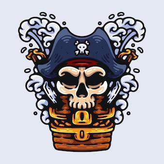 Capitão pirata caveira e seu tesouro