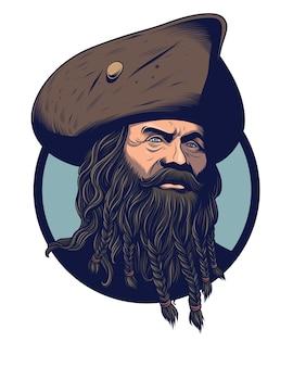 Capitão pirata com barba longa