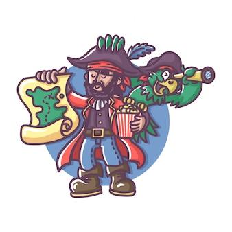 Capitão pirata com papagaio segurando o mapa