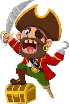 Capitão pirata de desenho animado segurando uma espada