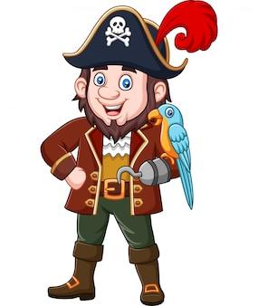 Capitão pirata dos desenhos animados e pássaro arara