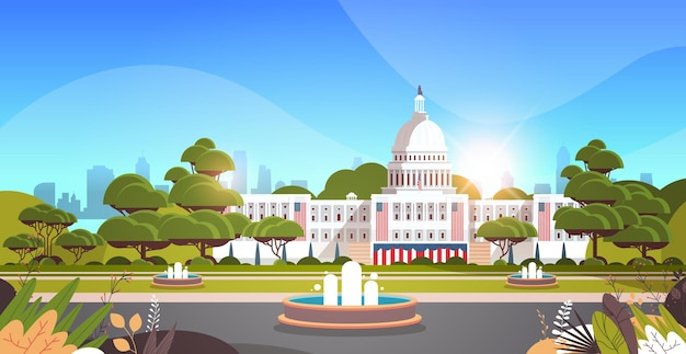 Capitólio washington dc eua inauguração presidencial dia celebração conceito cartão de saudação banner horizontal ilustração vetorial