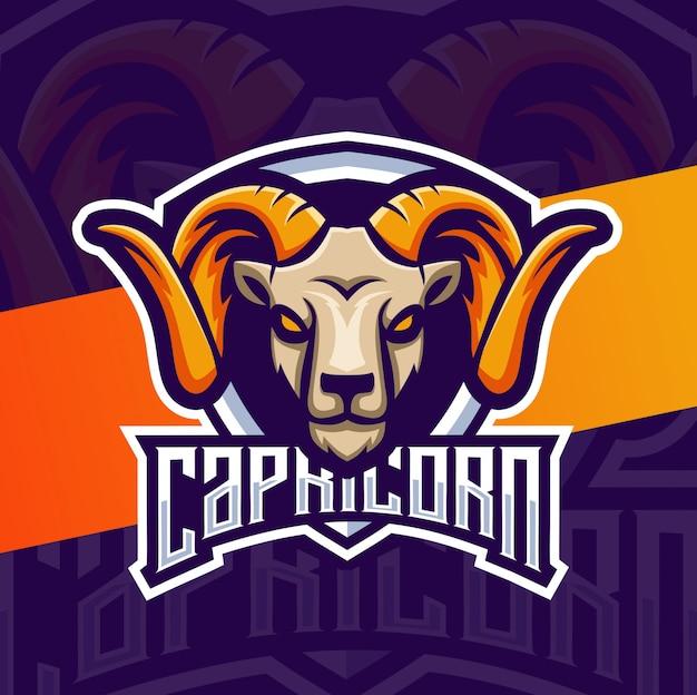 Capricórnio cabeça de cabra mascote esport design de logotipo