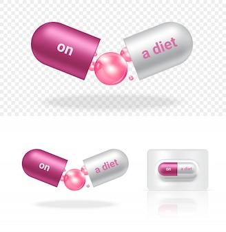 Cápsula 3d realista ou medicamento pílula com uma dieta e viciado em corpo magro