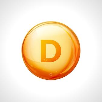 Cápsula amarela brilhante de vitamina d. comprimido de medicamento saudável com o símbolo de vitamina d da letra.