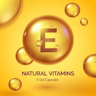 Cápsula com vitamina e. pílula de ouro realista. cartaz de produtos cosméticos para a pele com gotas de óleo e bolhas. conceito de vetor de beleza e saúde. suplemento médico, tratamento de comprimido orgânico