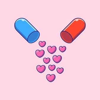 Cápsula de amor plana ilustração dos desenhos animados aberta.