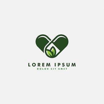 Cápsula de ervas cápsula folha medicina droga logo vector ícone do design