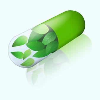 Cápsula de ervas com folhas de hortelã voando dentro. vista isométrica com sombra no espelho. comprimido verde. ícone de medicina alternativa.