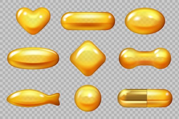Cápsula de ouro realista. derrubando cápsula amarela para cabelo produtos naturais vitamina e ômega ilustrações vetoriais 3d. óleo líquido essencial, cápsula dourada de essência realista