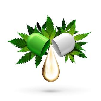 Cápsula do comprimido branco e verde com uma gota de óleo cbd e folhas verdes de cannabis em branco.