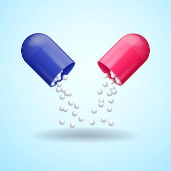 Cápsula do comprimido médico vermelho e azul com moléculas