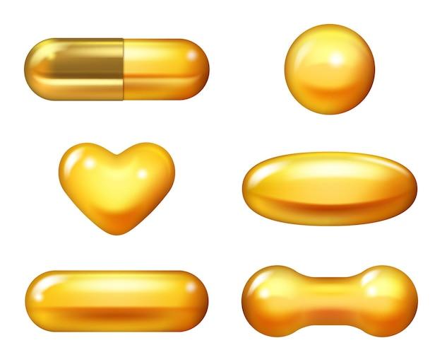 Cápsula dourada. comprimidos de colágeno vitamina e óleo de peixe 3d ômega cuidado produtos naturais ilustração vetorial realista. cápsula de óleo de peixe, cuidado com a pílula dourada, essência vitamínica