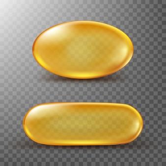Cápsula dourada de óleo de peixe ou vitamina