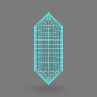 Cápsula poligonal. a cápsula das linhas conectadas aos pontos. estrutura atômica. tanque de solução construtiva de condução. fundo gradiente branco.