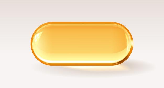 Cápsula transparente dourada, pílula médica realista ou gota de mel