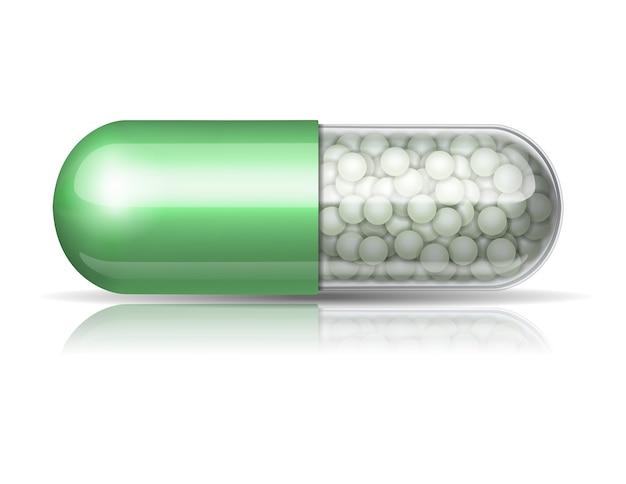Cápsula verde médica com grânulos no fundo branco. ilustração