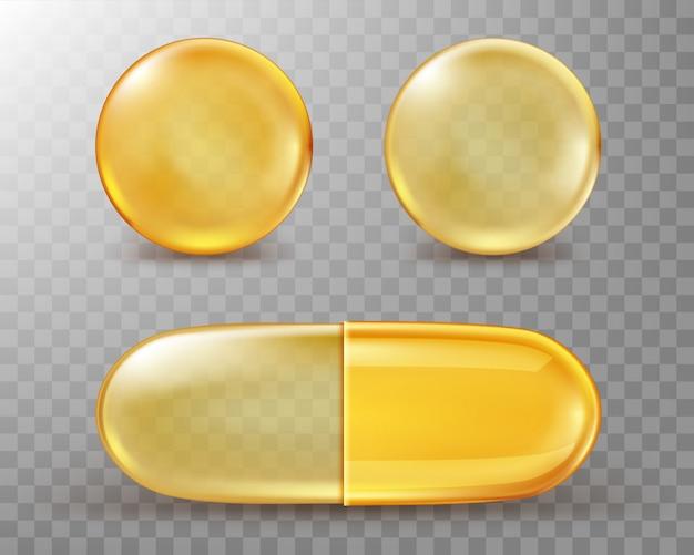 Cápsulas com óleo, pílulas redondas e ovais douradas.
