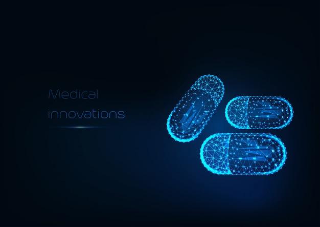 Cápsulas de droga poligonal brilhante futurista e texto inovação médica em fundo azul escuro.