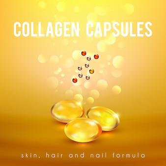 Cápsulas de fórmula de colágeno fundo dourado
