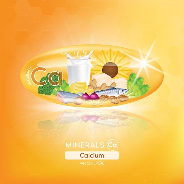 Cápsulas de minerais de cálcio e laranja benefícios alimentação saudável de vitaminas