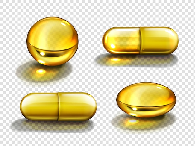 Cápsulas de óleo de ouro, comprimidos redondos e ovais de vitaminas