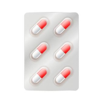 Cápsulas de remédio vermelho e branco