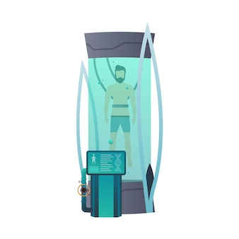 Cápsulas ou recipientes criogênicos futuristas. tecnologia criônica para humanos ou câmara criogênica de um astronauta. modo de suspensão do astronauta de ficção científica.
