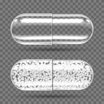 Cápsulas transparentes vazias e com grânulos.