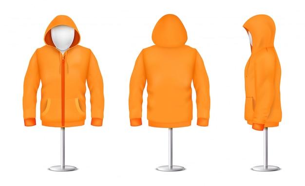 Capuz laranja realista com zíper no manequim e pólo de metal, modelo unisex casual