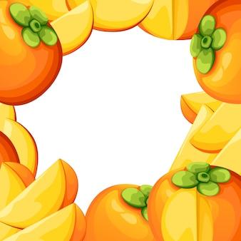 Caqui com folhas inteiras e rodelas de caqui. ilustração de caqui. ilustração para cartaz decorativo, produto natural emblema, mercado dos fazendeiros. página do site e aplicativo para celular