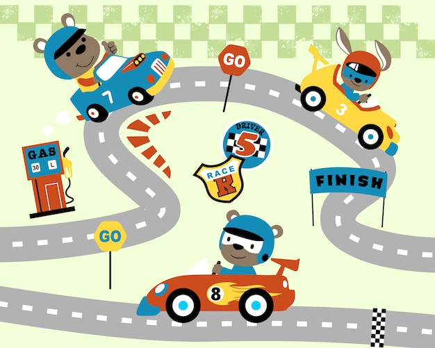 Car racing cartoon