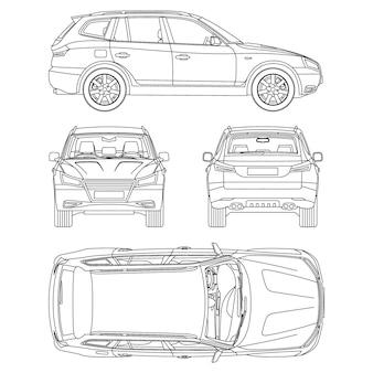 Car suv 4x4 linha desenho aluguel, relatório de condição de danos, planta toda vista de cima, frente