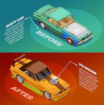 Car tuning 2 isometric banners set