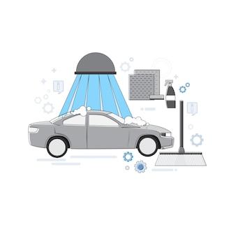 Car wash service auto negócios web banner linha fina ilustração vetorial