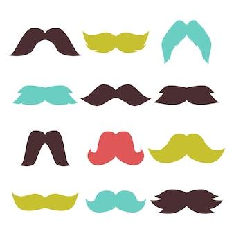 Cara acessório festa bigode hipster barba vector