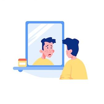 Cara adolescente surpreendida com cara de acne, olhando para a ilustração gráfica de espelho