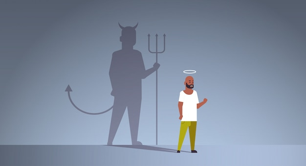 Cara afro-americana com nimbus escolhendo entre o bem e o mal
