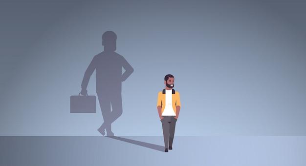 Cara afro-americana, sonhando em ser empresário