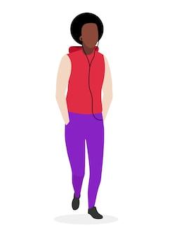 Cara afro-americano com ilustração plana de penteado encaracolado. jovem de pele escura, homem negro descolado em roupas casuais. modelo brasileiro de personagem de desenho animado de moda masculina em fundo branco