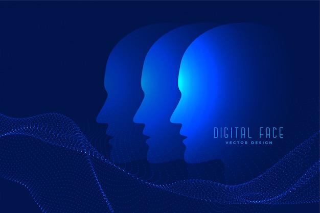 Cara ai digital com fundo de tecnologia de face de partícula