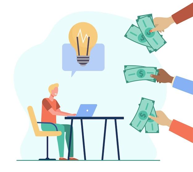 Cara alegre ganhando dinheiro com a ideia