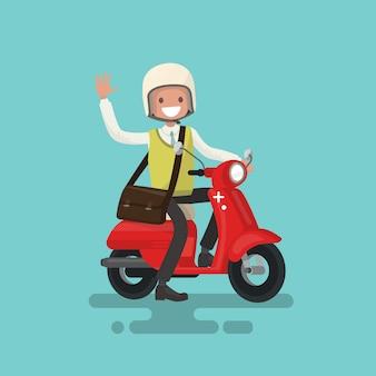 Cara alegre monta uma ilustração de moto