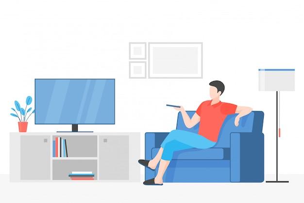 Cara assistindo ilustração vetorial plana de televisão. jovem sentado no sofá confortável, segurando o personagem de desenho animado remoto. descanso interno, recreação na mídia, atividade de lazer moderna. interior do apartamento.