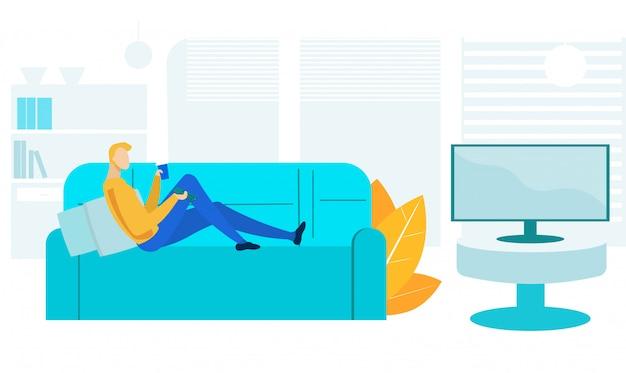 Cara assistindo televisão plana ilustração vetorial